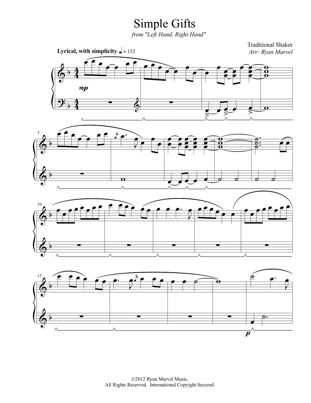 """Simple Gifts"" – Sheet Music (Download)"